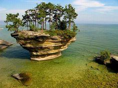 The breathtaking Turnip Rock on the shores of Lake Huron, near Michigan.
