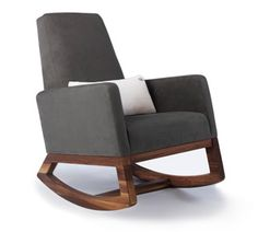 Joya rocker nursing chair in Charcoal with walnut base is a modern rocking chair designed to be a timeless addition to any room in your home. Modern nursery furniture by Monte Design. Handcrafted and sustainably made in Canada.