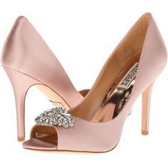 Badgley Mischka Lavender II (Blush Satin) High Heels ($125) ❤ liked on Polyvore featuring shoes, pumps, pink, pink high heel pumps, satin shoes, leather sole shoes, pink pumps and badgley mischka pumps