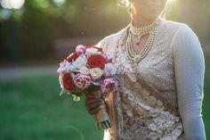 Samantha + Heinz: Vintage Garden Ceremony & Reception in Melbourne - Sabyasachi bride - Indian bride - Indian bridal bouquet - Indian garden wedding - kundan and stone wedding jewellery #thecrimsonbride