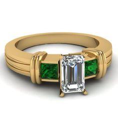1.15 Ct Emerald Cut Diamond & Green Emerald Engagement Ring Bezel Set F-Color 14K   Good Jewelry Brands