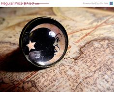 Ouija Board Moon / Sun Bronze Adjustable Ring by hackofalltrades $5.25