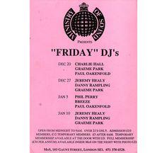 Ministry of Sound Flyer 1991 - Graeme Park, Paul Oakenfold, Jeremy Healy, Danny Rampling