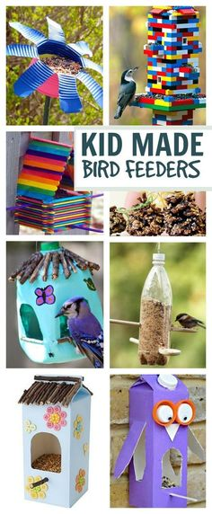 18 TOTALLY AWESOME bird feeder crafts for kids. These are SO COOL! I love the Lego bird feeder! #birdfeeders #springcraftsforkids #springactivitiesforkids #craftsforkids #birdfeedersdiy #birdfeedersforkidstomake #birdfeedershomemade #birdfeedersdiykids #artsandcraftsforkids #artsandcrafts #activitiesforkids #kidsactivities #kidmadebirdfeeders #kidmadebirdfeeder