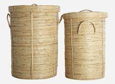 St0904 - Vasketøjskurv, Chaka, sæt á 2 str., S.: 37 cm, h.: 57 cm, L.: dia.: 45 cm, h.: 64 cm