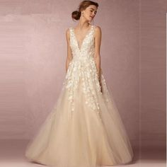 Boho 3D Floral A-Line Wedding Gown :: Autumn Collection