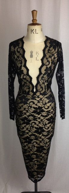 Baylis & Knight Black Nude Lace PLUNGE Long Sleeve Low Cut Wiggle FISHTAIL FRILL Knee Dress Dita Burlesque