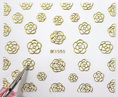 Buy 2 get 1 Free. 3d White and Gold Rose Nail Art by tigerlilies, $2.30