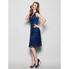 Mother of the Bride Dress Knee-length Sleeveless Lace Sheath/Column Dress – USD $ 89.99