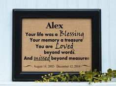 FRAMED Burlap Print | In Memory of | Sympathy | Missing you | Grieving | Death by BlessedHomesteadShop on Etsy