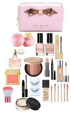 """What's in my makeup bag"" by mgtatum ❤ liked on Polyvore featuring beauty, Ted Baker, Eos, Bobbi Brown Cosmetics, Yves Saint Laurent, Guerlain, Easy Spirit, Marc, AERIN and Clinique"