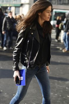 Barbara Martelo in a Saint Laurent motorcycle jacket and low rise skinnies