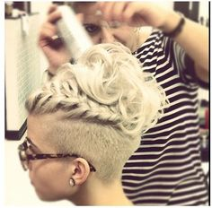 Shaved on the side, Styled partial braid up top undercut! via: excellenthairstyles.com