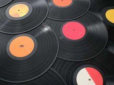 Pile of 33rpm vinyl records.