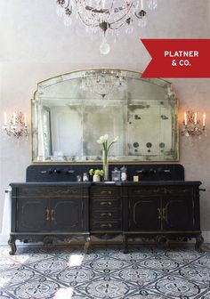 Seeking ideas for your bathroom design? STOP RIGHT HERE for Antique Vintage Style Bathroom Vanity Inspiration and photos of lovely interior design bliss. Vintage Dressers, Vintage Sideboard, Black Sideboard, Vintage Buffet, Antique Buffet, Vintage Cabinet, Credenza, Beautiful Bathrooms, Romantic Bathrooms