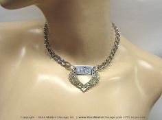 """BDSM Collar Evening Formal Submissive Choker Engraved """"HIS"""" Princess Necklace Stainless Steel Chain Lockable Swarovski Rhinestone"""