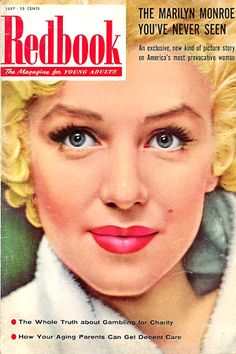 1955 July issue: Redbook The Magazine For Young Adults cover of Marilyn Monroe .... #normajeane #vintagemagazine #pinup #iconic #raremagazine #magazinecover #hollywoodactress #monroe #marilyn #1950s