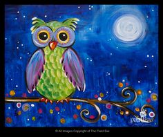 Midnight Owl Painting