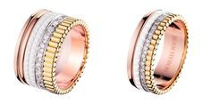 Unique wedding bands with mix of gold, rose gold, diamonds and white ceramic // Boucheron's Quatre Collection: An Introduction to an Icon of Jewellery