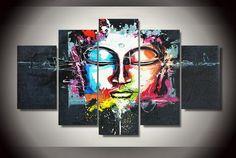 5 Pieces Modern Abstract Buddha Art Painting Canvas Wall Art Modular Canvas