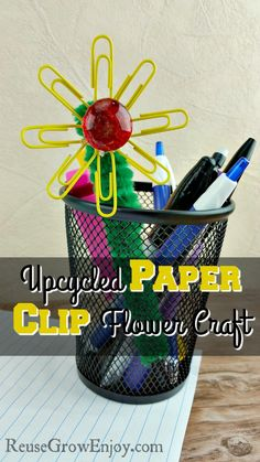 Need a fun and easy craft to do with the kids? Maybe for a back to school craft? Check out this Upcycled Paper Clip Flower Craft! http://reusegrowenjoy.com/upcycled-paper-clip-flower-craft/