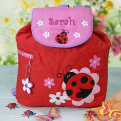 Personalized Quilted Ladybug Embroidered Backpack