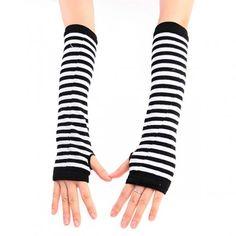 Stripe Fingerless Gloves - Black/White