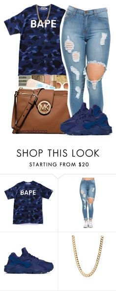 """""""bape"""" by yeauxbriana ❤ liked on Polyvore featuring A BATHING APE, NIKE, women's clothing, women, female, woman, misses and juniors"""