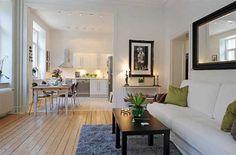 The floor;););) Living room of Open Floor Plan  Interior Design of Swedish 58 Square Meter Apartmen