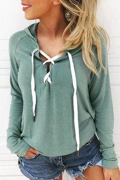 706dc8ada4f Orsle Lace Up Long Sleeve Crop Hoodie. Sweater ...