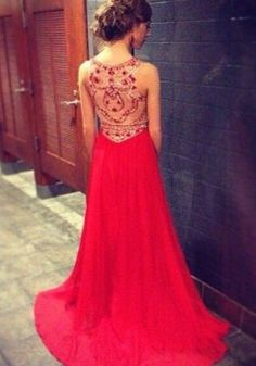 Red Prom Dresses With High Neck Beaded Bodice Chiffon Long Prom Dress,A Line See Through Back Evening Dresses,Custom Woman Prom Gowns from Dresscomeon Elegant Dresses, Pretty Dresses, Beautiful Dresses, Formal Dresses, Long Dresses, Prom Dresses 2015, Bridesmaid Dresses, Prom Gowns, Dresses Uk