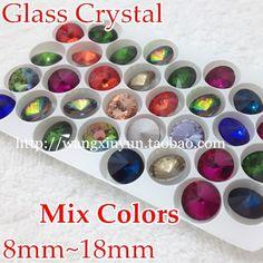 mix kleuren kristal rivoli 8mm 10mm 12mm 14mm 16mm 18mm ronde fancy stone kristal rivoli kralen   voor meer informatie