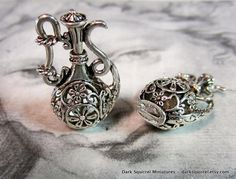 2 pc 3D Ornate Jug Pendant Charm by DarkSquirrel on Etsy, $4.00