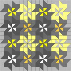 Easy triangle quilting patterns: Tessellating flower quilt block pattern. (These wavy flowers are created by just squares and triangles)