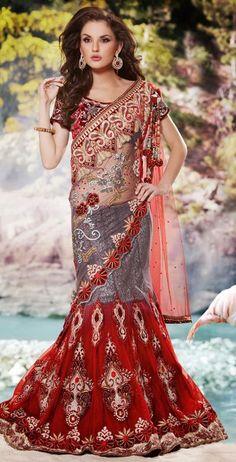 Grey and Red Net Lehenga Style Saree with Blouse Lehanga Saree, Lehenga Style Saree, Net Lehenga, Sari, Indian Bridal Sarees, Indian Designer Sarees, Bridal Lehenga, Ethnic Fashion, Indian Fashion