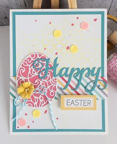 ~ happy easter ~ Pretty stamped and die cut Easter card!