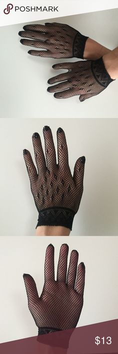 Ornate Fish Net Gloves Never worn, in like-new condition. These soft, stretchy fish net gloves are beautiful.  Tags: Gothic, Burlesque, Dominatrix, Fetish Accessories Gloves & Mittens