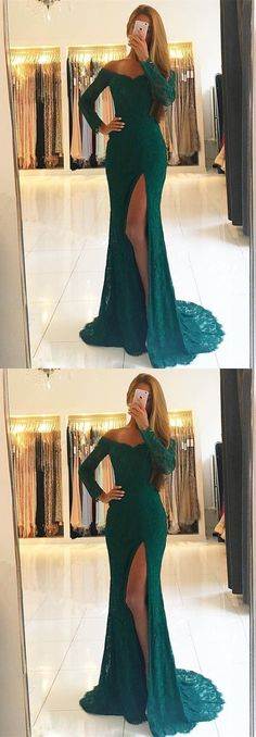 Mermaid off shoulder prom party dresses with long sleeves,dark green formal gowns , elegant evening dresses.