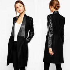 Women Winter Leather Patchwork Woolen Coat Nice New European Brand Black Slim Long Wool Overcoat Casaco Feminino Jackets S2255-in Wool & Blends from Women's Clothing & Accessories on Aliexpress.com | Alibaba Group