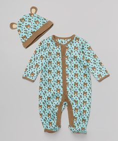 Love this My O Baby Blue Bear Organic Footie & Beanie - Infant by My O Baby on #zulily! #zulilyfinds