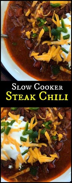 This Slow Cooker Steak Chili is SO easy and delicious! Absolutely wonderful flavor!  I may double the recipe next time because we didn't have ANY leftovers!  Everyone knows the best part of chili is the leftovers!  We loved it with with a side of cornbread muffins!