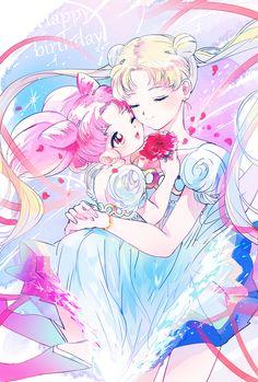 Chibiusa and Usagi, by Asako (Itiba) Sailor Moon Tattoos, Sailor Moon Sailor Stars, Sailor Moon Manga, Sailor Moon Crystal, Cristal Sailor Moon, Arte Sailor Moon, Sailor Moon Fan Art, Sailor Scouts, Manga Anime