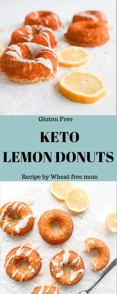 Keto Lemon Donuts Keto Donuts, Gluten Free Donuts, Gluten Free Baking, Gluten Free Recipes, Low Carb Recipes, Low Carb Desserts, Fun Desserts, Donut Baking Pan, Low Carb Donut