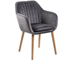 Machen Sie Ihr Wohnzimmer mit dem dunkelgrauen Armlehnstuhl Emilia mit Beinen aus Eichenholz zur Wohlfühloase. Entdecken Sie weitere tolle Möbel auf >> WestwingNow. Samt-Armlehnstuhl in Dunkelgrau