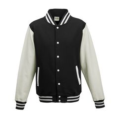 Just Hoods JH043 Jet Black and Arctic White Varsity Jacket - £19.35