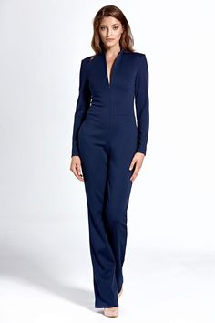 Call off the search with our Long Sleeve Jumpsuit In Navy Blue. Shop unique fashion at SilkFred Pantalon Bleu Marine, Classic Suit, Mademoiselle, Overall, Unique Fashion, Casual, Fitness Models, Navy Blue, Jumpsuit