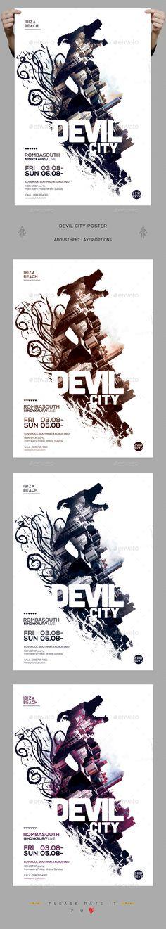 Devil City Poster / Flyer — Photoshop PSD #future #dj promote • Download ➝ https://graphicriver.net/item/devil-city-poster-flyer/19379477?ref=pxcr
