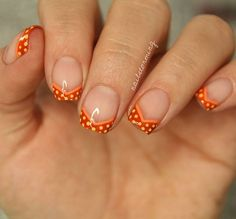 """No tools chevron tips & dots =) full video on YouTube link in bio ! 😘 - I believe NailDecor did something like this awhile ago =) - Products used: Orange: """"Where Did Suzi's Man-go?"""" OPI Burnt Orange: """"It's a Piazza Cake"""" OPI Yellow: """"Metropollentin"""" China Glaze Top coat: HK Girl @Glistenandglow1"""