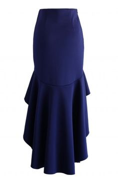 Airy Frill Hem Skirt in Navy - Retro, Indie and Unique Fashion