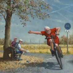 """A new Marius van Dokkum is always a good thing.go Granny go. Art And Illustration, Photo Velo, Bicycle Art, Dutch Artists, Cycling Art, Painting & Drawing, Watercolor Art, Illustrators, Drawings"